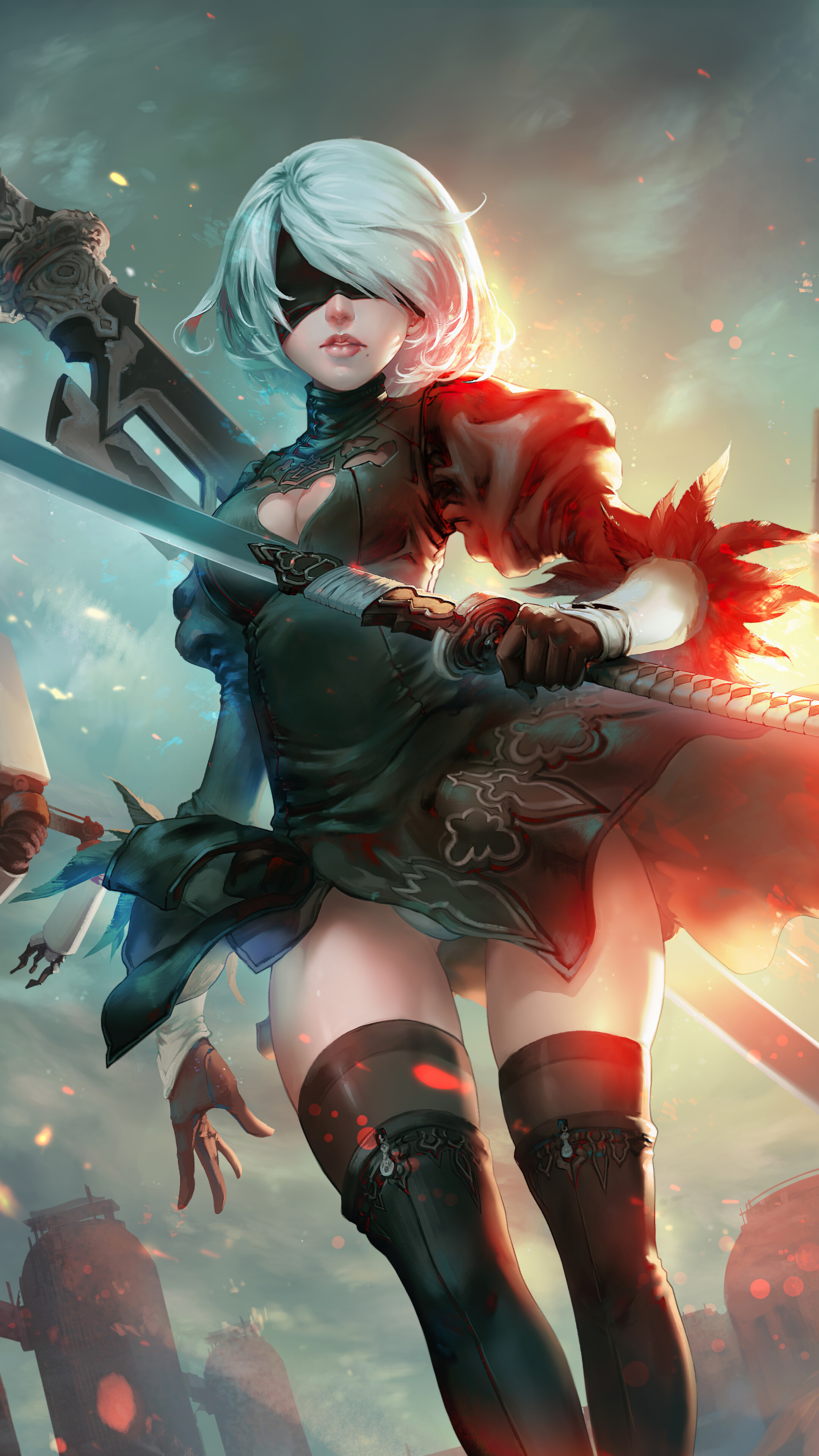 2b Phone Wallpaper : phone, wallpaper, Automata, Katana, Wallpaper, #6.608
