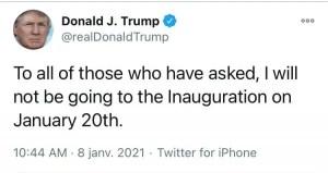 DonaldTrumpsera absent à l'investituredeJoeBiden. - Donald Trump, États-Unis, Joe Biden