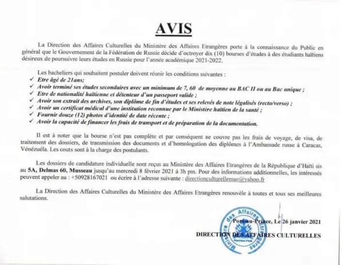 10 bourses d'étude octroyées aux étudiants haïtiens par le Gouvernement de la Fédération de Russie - bourse, Haïtiens, Russie