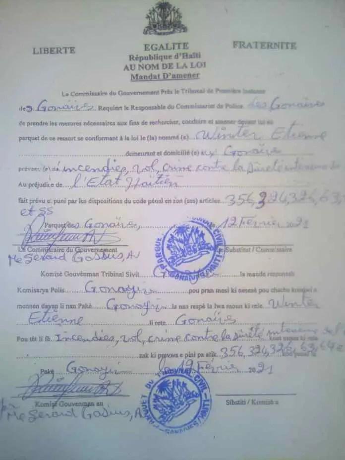 Gonaïves : un mandat d'arrêt émis contre le militant Winter Etienne - mandat, Winter Etienne