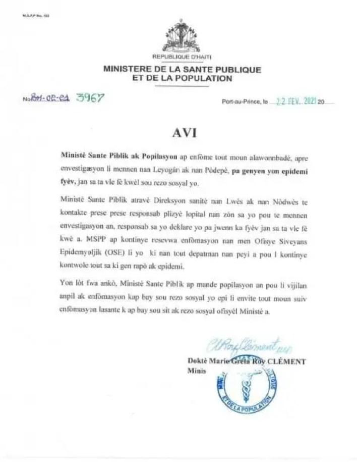 Le MSPP n'a confirmé aucune épidémie de fièvre à Léogâne ou à Port-de-Paix - fièvre, Léogâne, mspp, Port-de-Paix