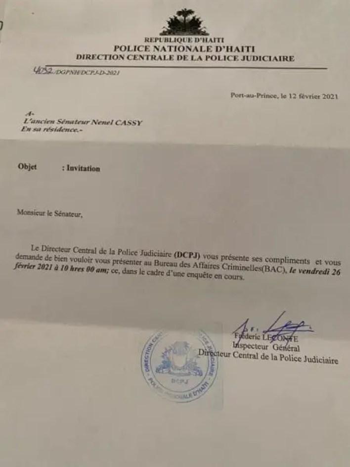 L'ex-sénateur Nenel Cassy convoqué à la DCPJ - DCPJ, Nenel Cassy