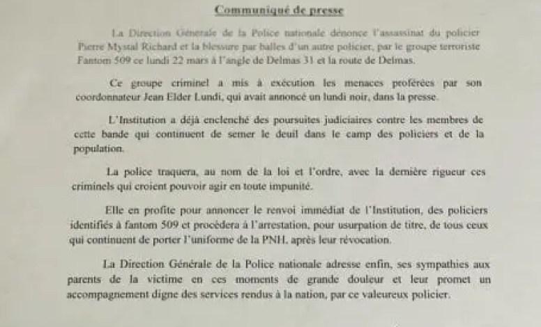 Les policiers membres de Fantom 509 révoqués de la PNH - Fantom 509