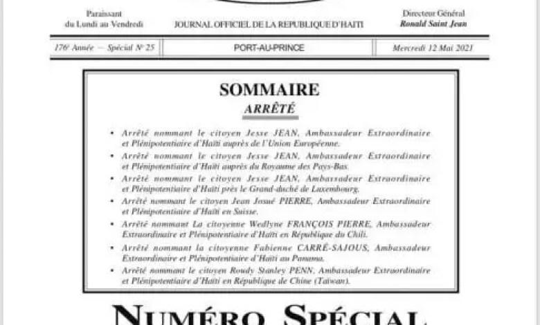 Haïti nomme de nouveaux ambassadeurs -