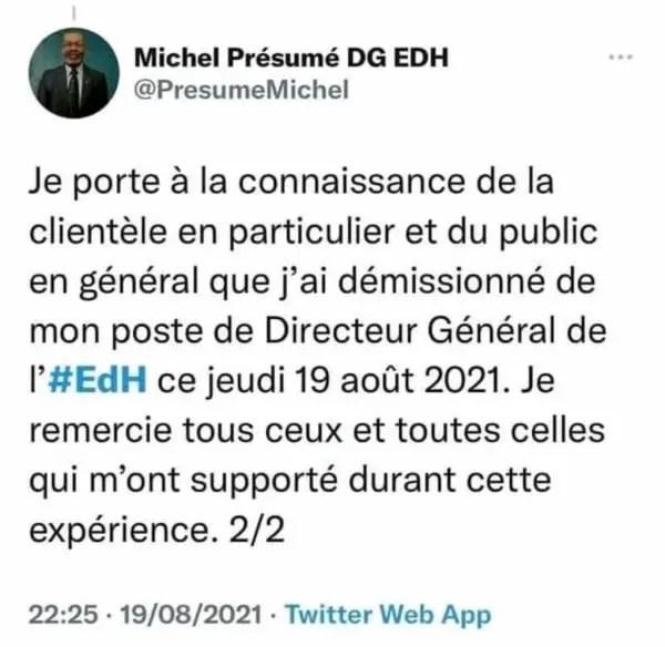 Démission du Directeur Général de l'EdH, Michel Présumé -