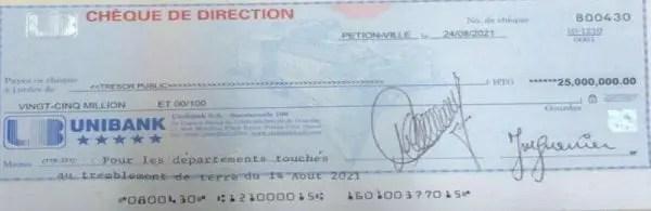 Séisme : Le sénateur Rony Célestin signe un chèque de 25 millions de gourdes au profit des victimes - Rony Celestin