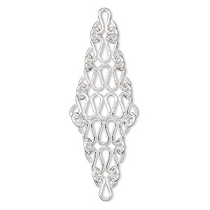Focal, sterling silver, 50x15mm diamond with squiggly