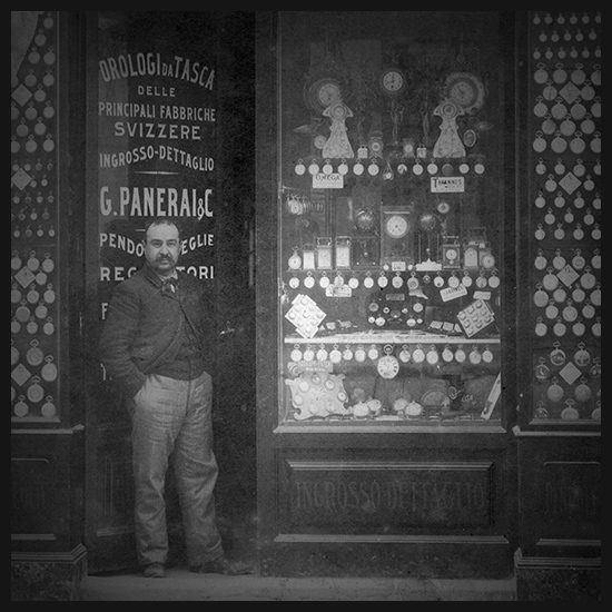Giovanni Panerai posing in front of its shop in Florence in the 19th century. Image Amplified www.imageamplified.com