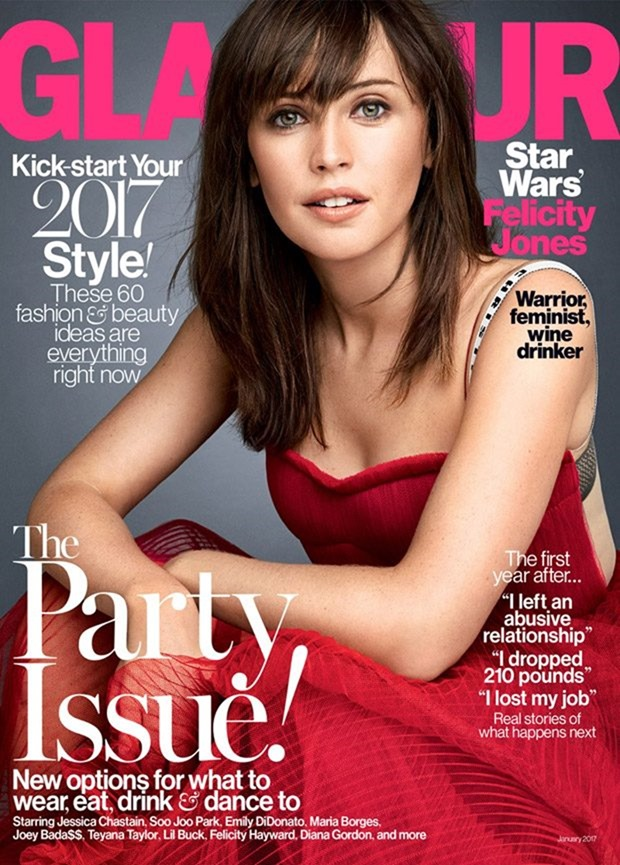 GLAMOUR MAGAZINE Felicity Jones by Patrick Demarchelier. Jillian Davison, January 2017, www.imageamplified.com, Image Amplified1
