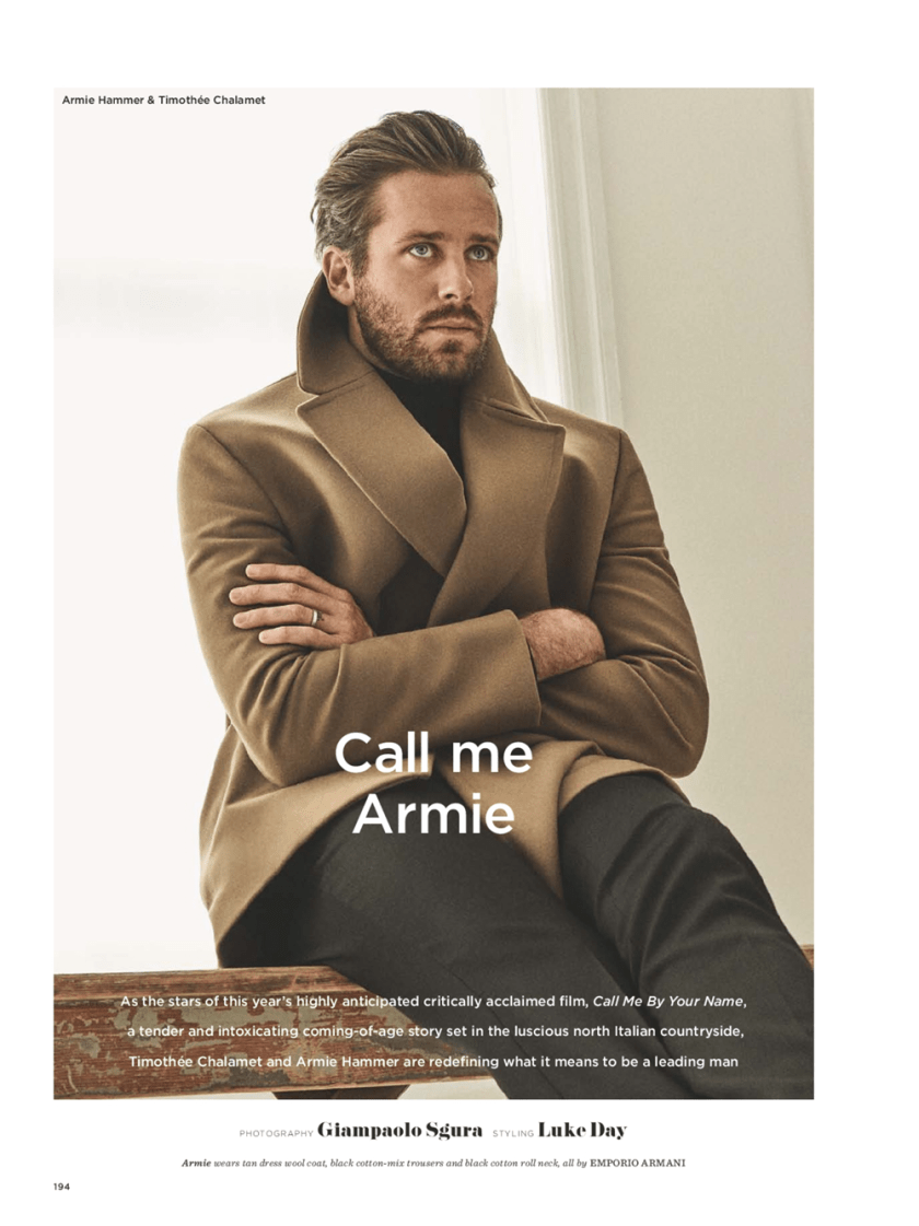 GQ STYLE UK Armie Hammer & Timothee Chalamet by Giampaolo Sgura. Luke Day, Fall 2017, www.imageamplified.com, Image Amplified3