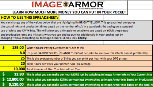 Image Armor Spreadsheet to Learn How much more money you can make by switching to Image Armor Inks
