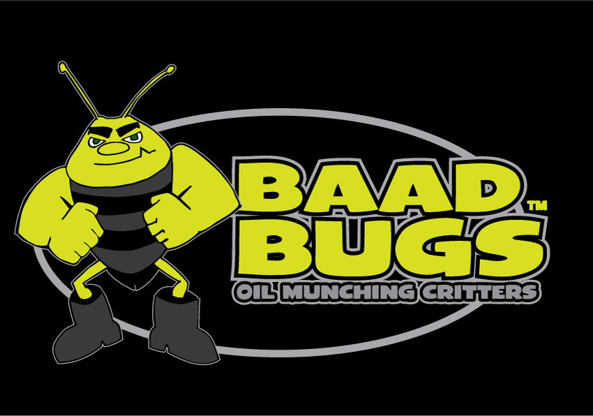 "Baad Bugs - A brand created for a revolutionary ""oil eating"" product. Hand drawn character vectorized in Illustrator."