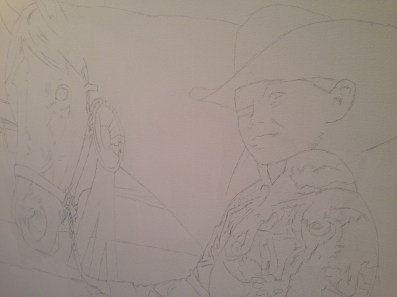 The pencil sketch on the canvas
