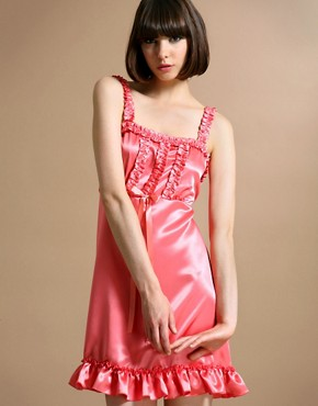 Satin Frill Baby Doll Dress Pink