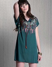 Mina Feather Print Beaded Folk Dress