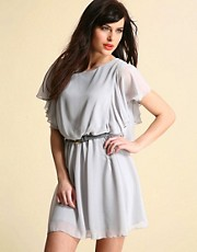 ASOS Flutter Sleeve Chiffon Dress