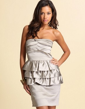 Robe bustier en satin, Warehouse