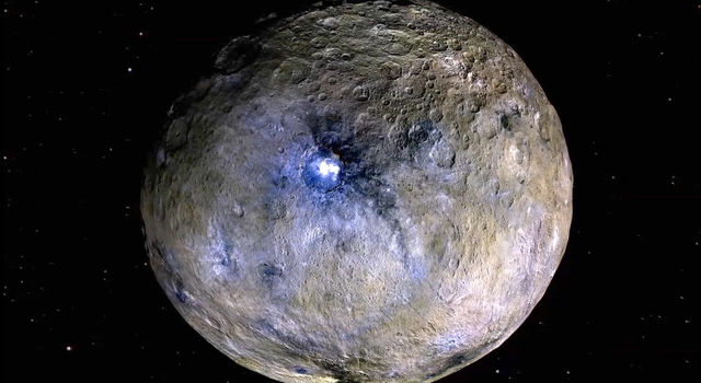 This false-color rendering highlights differences in surface materials at Ceres, one of the targets of the Dawn mission. Image credit: NASA/JPL-Caltech/UCAL/MPS/DLR/IDA