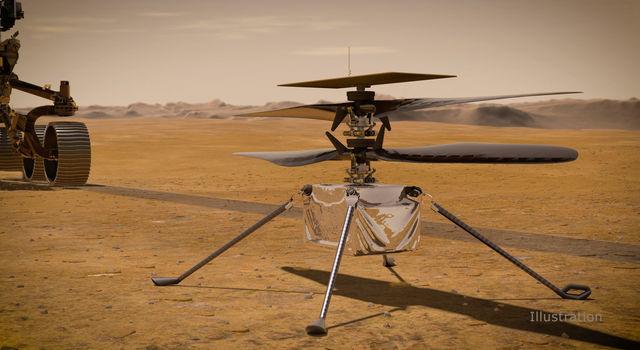इस दृष्टांत में, नासा का Ingenuity Mars हेलीकॉप्टर लाल ग्रह की सतह पर खड़ा है