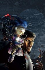 Cover of Non-Humans #1, picturing a dark-haired man with a doll with glowing eyes on his shoulder. Both are spattered in blood.