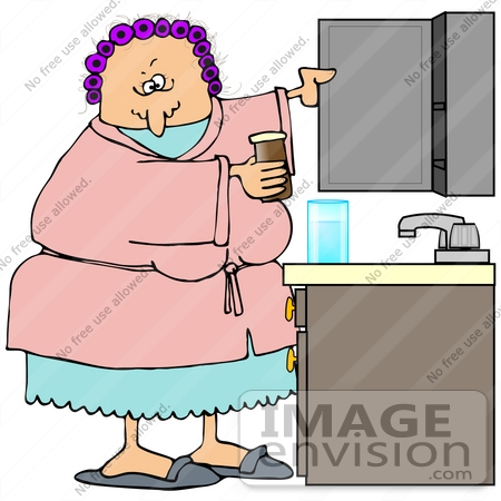 clip art graphic of a grouchy old caucasian lady wearing a pink robe over blue pjs and purple