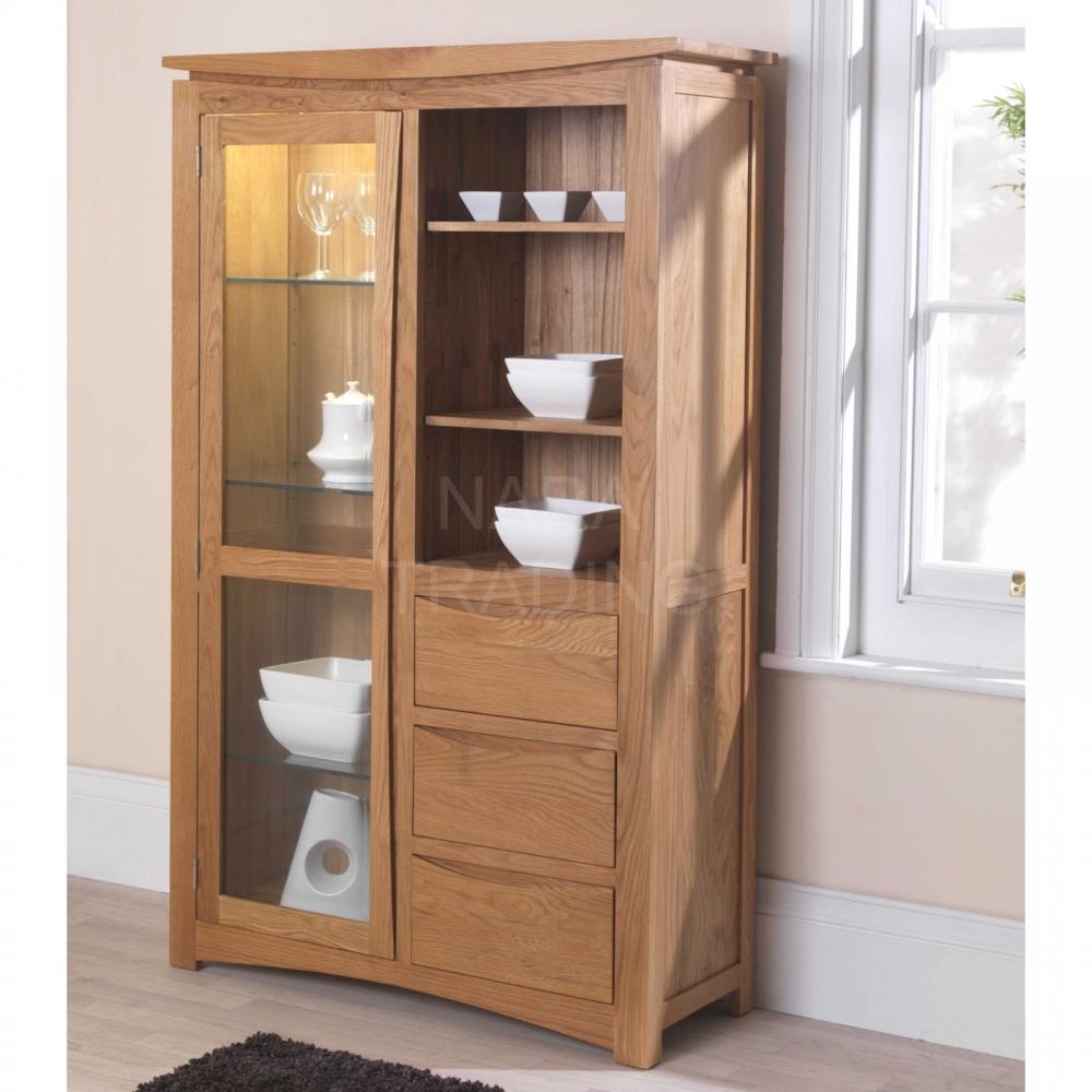 Crescent solid oak modern furniture glazed display cabinet ...