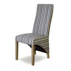 Striped Dining Chair How To Make Beach Chairs Kemble Solid Oak Set Of Four Multi Colour Fabric