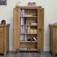 Original rustic solid oak furniture CD DVD storage cabinet ...