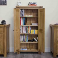 Original rustic CD DVD storage cabinet bookcase unit solid