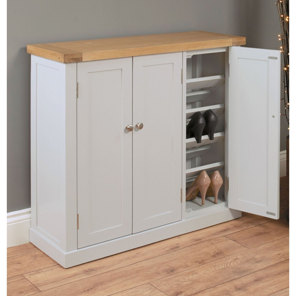 Chadwick grey painted oak hallway furniture large shoe