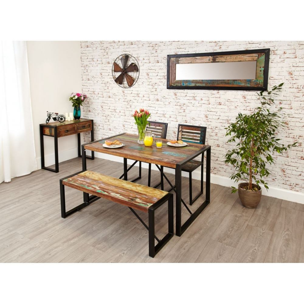 Table With Two Chairs Details About Urban Chic Reclaimed Wood Indian Furniture Dining Table Two Chairs And Bench Set