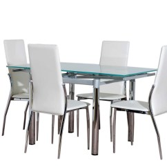 Glass Kitchen Table Sets Tall Storage Cabinet Dining Furniture And 4 Cream Chairs Set Ebay