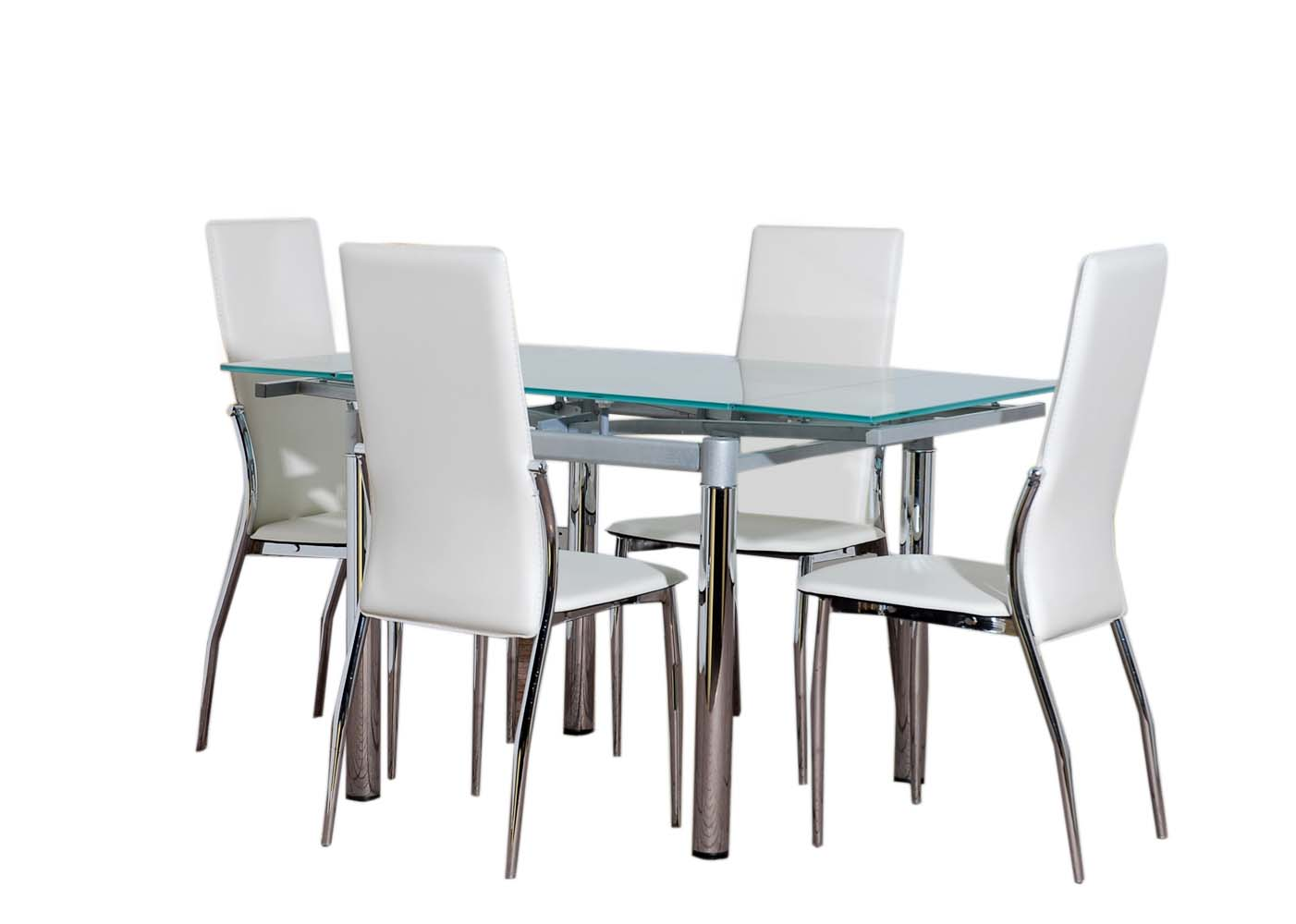 Glass Chair Glass Dining Table Furniture And 4 Cream Chairs Set Ebay