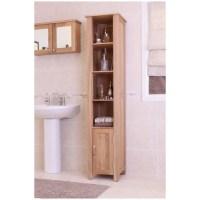 Mobel solid oak furniture tall bathroom storage cabinet | eBay