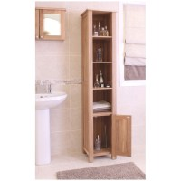 Mobel solid oak furniture tall bathroom storage cabinet | eBay