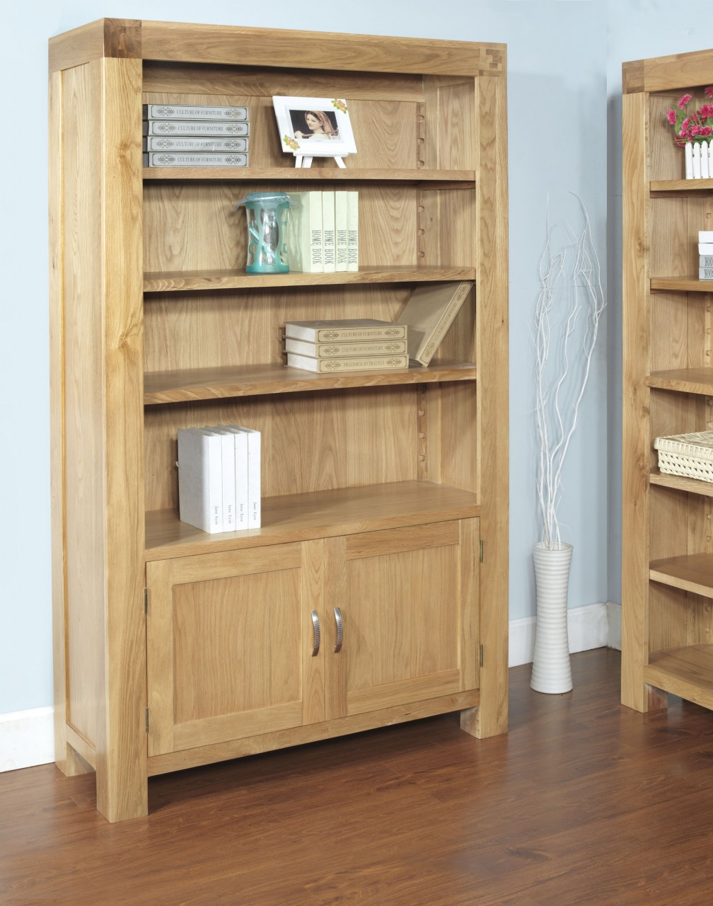 Rivermead Solid Oak Modern Furniture Large Bookcase With