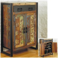 Agra solid reclaimed wood hallway shoe storage cabinet ...