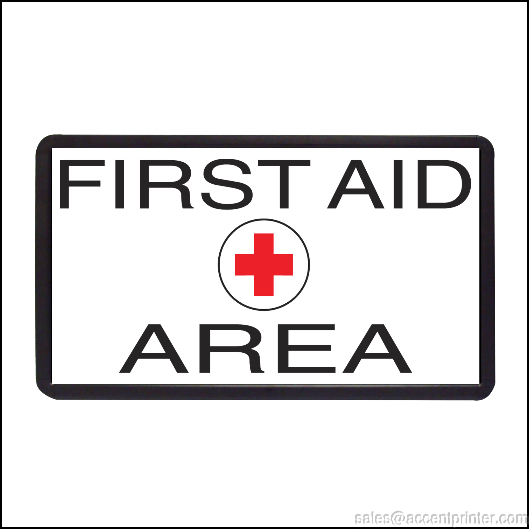 FIRST AID AREA BACKLIT ILLUMINATED ELECTRIC WINDOW SIGN