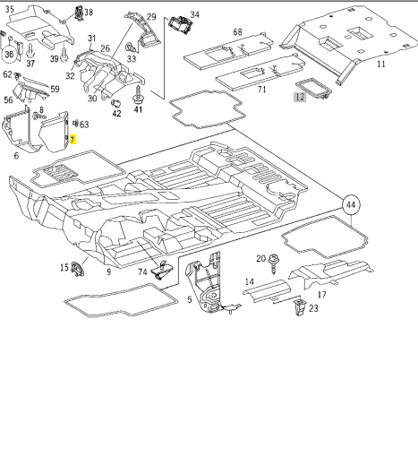 MERCEDES GRAY ORNAMENTAL COVER LH W163 ML320 ML430 ML55