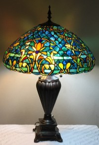 "Tiffany Style Stained Glass Table Lamp ""Azure Sea"" w/ 20 ..."
