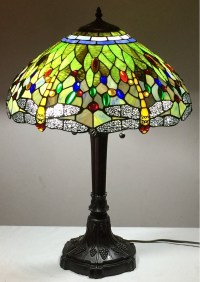 "Tiffany Style Stained Glass Lamp ""Vivid Dragonfly"" w/ 18"