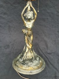 Antique Art Nouveau Lady Lamp Base Leaded Stained Glass ...