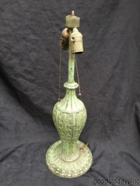 Green Table Lamp Base for Stained Leaded Glass Lamp Arts