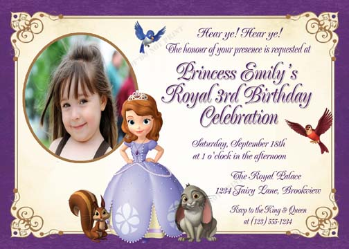 sofia the first invitation card, Party invitations