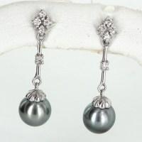 Black Cultured Pearl Diamond Drop Earrings Estate 14k ...