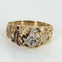 Masonic Blue Lodge Ring Mens Vintage 10k Yellow Gold ...