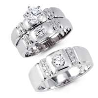 14K Solid White Gold CZ Engagement Wedding 3 Ring Set, 14k ...
