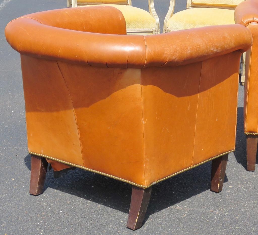 bernhardt brown leather club chair white velvet dining chairs vmd1203 pair ebay