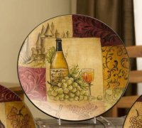 New WINE DECORATIVE PLATE Gold Green TUSCAN Wall Decor ...