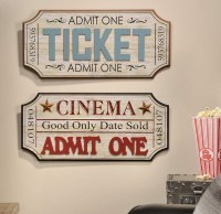 Vintage Theater Movie Ticket Wall Plaque Home Decor Accent ...